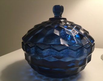 Early American Pattern Cobalt Blue Glass Covered Dish - EAPG