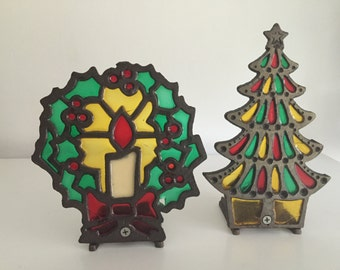 Vintage 1970's Cast Iron Christmas Tree and Wreath Stained Glass Candle Votive Holders