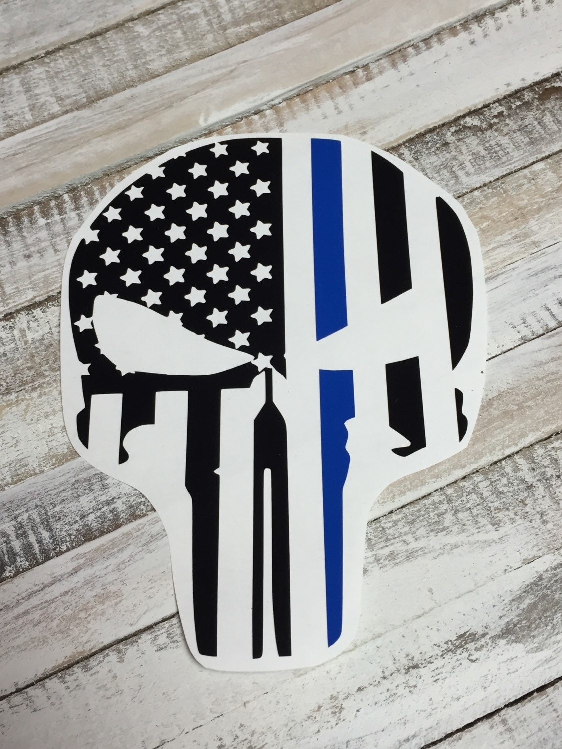 Thin Blue Line Punisher Decal American Flag Merica By