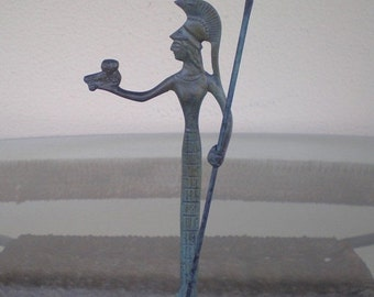 For Sale Goddess Athena With Spear&Owl Protector Of Athens Bronze Figure-Female Protector