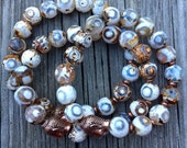 Stackable Chunky 10 mm White Dzi Agate + Copper Buddha Yoga and Meditation Bracelet
