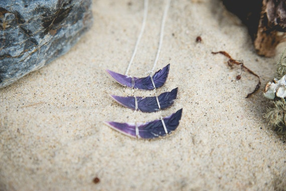 "wampum feather stack necklace on sterling silver chain 24"" handmade on martha's vineyard"