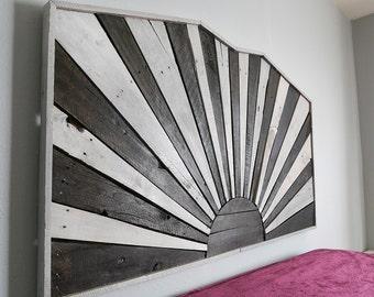 winter sun, rustic headboard, rustic furniture, reclaimed wood, bedroom furniture, unique headboard, pallet furniture, sunrise, wall art
