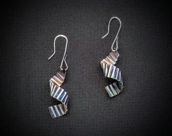 Sterling Silver Folded and Spiraled Earrings.  Iridescent patina!!