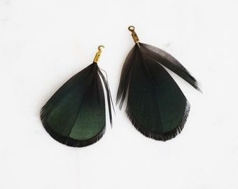 T9-110-A4] Dark Green Feather / 43mm / Ready Made Feather / 4 piece(s)