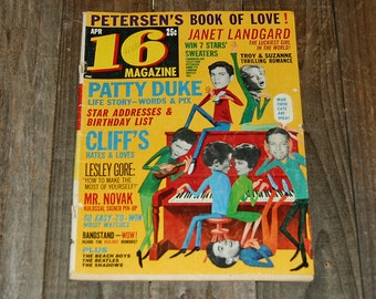 Teen Magazine - 16 Magazine - April 1964 - 1960s Collectibles - Patty Duke, Elvis, Rick Nelson, Ann Margret