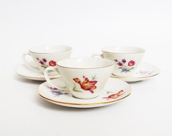Set of 6 porcelain teacups, vintage, mug jug serving (1960s), Czechoslovakia coffee tea cup mocha espresso