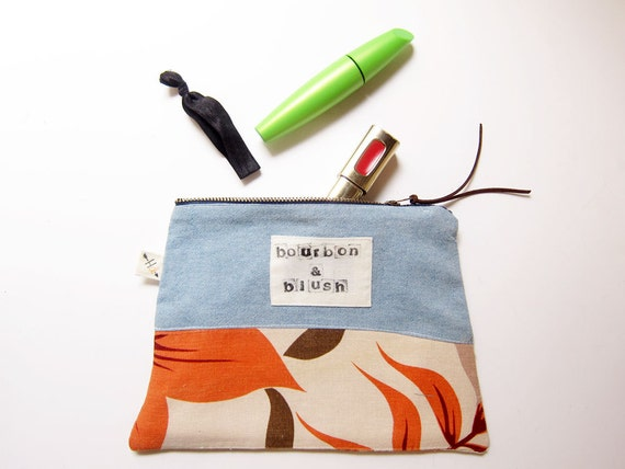 Bourbon & Blush trapezoid zip pouch eco conscious funny makeup bag upcycled tropical print denim color block hand stamped stocking stuffer