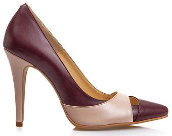 Emma Bordeaux & Blush Pink Leather Stiletto Pumps