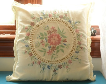 vintage needlepoint floral pillow with insert