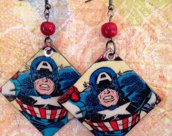 Captain America Earrings, Fabric and Wood Upcycled Earrings, comic earrings, Avengers