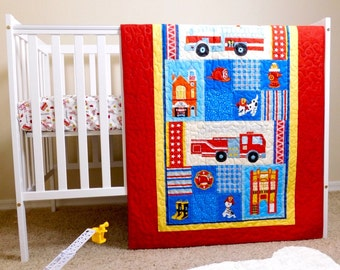 Firefighters Quilt, firefighters nursery, firetrucks crib quilt, crib bedding,  fireman baby gift, Firefighters baby quilt.