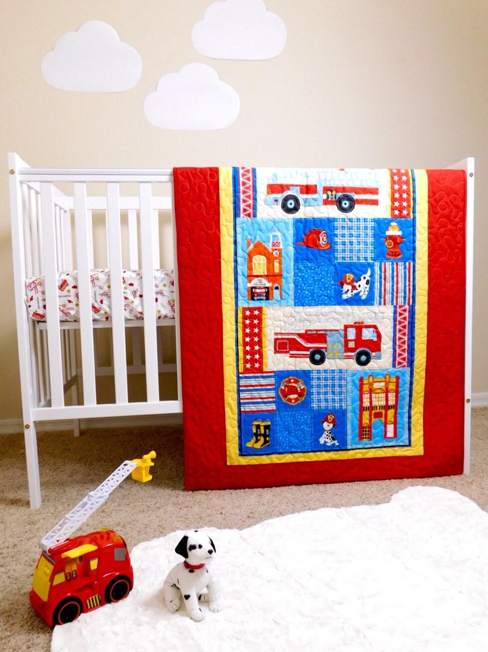 Firefighters Quilt Firefighters Nursery Firetrucks Crib