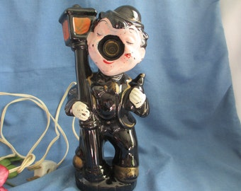 Mid Century Ceramic Drunk Man Holding Lamp Post Kitsch Lamp