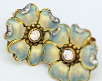 18k Gold Diamond Enamel Earrings Art Nouveau Flower Style (#6055)