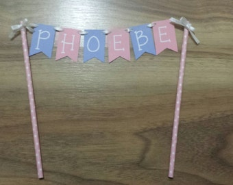 "Custom Made Pink and Purple ""NAME"" Cake Bunting"