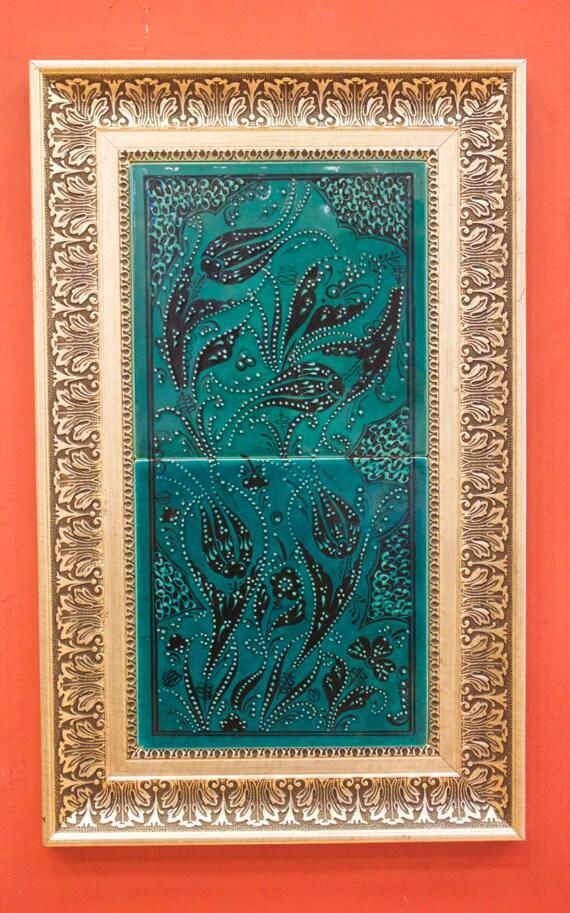 Turquoise Tulip Design Hand Made Ceramic Tile, Blue Black Tile, Metallic Frame, Bohemian Decoration, Black Flowers, Ceramic Wall Hanging Art
