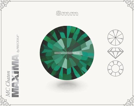 6 pc.+ SS39 (8mm) Preciosa MC Chaton MAXIMA - Emerald Color