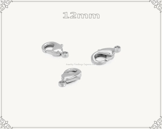 20 pc.+  12mm Solid Brass Lobster Claw Clasp - Rhodium Plating
