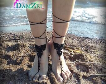 Floral Barefoot Sandal, Black Barefoot Sandal, Lace Barefoot Sandal, Barefoot Anklet, Foot Jewelry