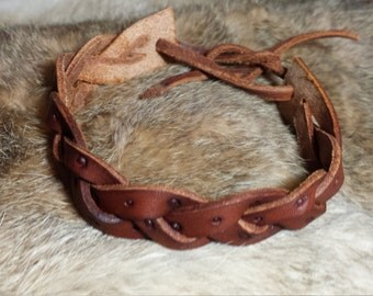 Leather Trick Braid Wrist Bracelet