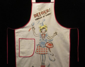 Vintage Silly Woman at Work Full Apron