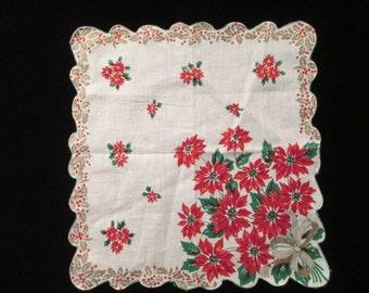 Vintage Christmas Poinsettia Hankie