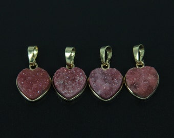 Heart Shape Red Druzy Geode Agate Charm Pendant,Unique Gold Electroplated Bail Connector Sliced Pendant Necklace for Girls