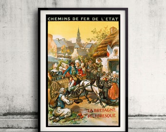 La Bretagne Pittoresque, French Travel Poster - Fine Art Glicée Poster Digital Wall art Illustration Print Decorative - SKU 0215