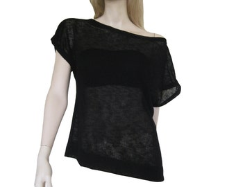 "Sort sleeves top ""Casual"", black sheer shirt, see through, boat neck loose top, black shirt."