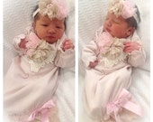 Baby Girl Coming Home Outfit, Blush Baby Gown Cap, Newborn Gown, Newborn Girl Take Home Outfit