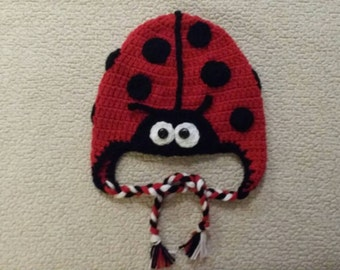 Crocheted ladybug hat available in sizes newborn to adult, made to order
