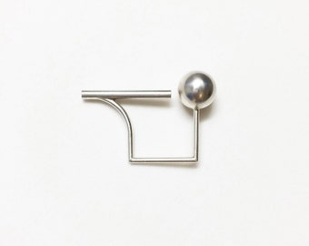 ball.stick.ring silver.jewelry