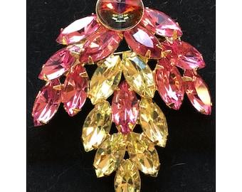 Vintage Pink & Yellow Navette Rhinestone Brooch