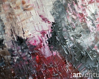 36x48 Original pink & grey large abstract painting - gray red spatula painting colorful abstract painting pink modern painting red grey art