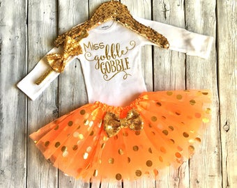 Baby girl Thanksgiving outfit, first thanksgiving outfit, girls thanksgiving outfit, orange gold tutu, miss gobble gobble onesie, newborn