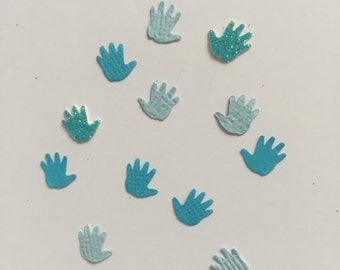 Blue, Light Blue & Blue Glitter Baby Hands Confetti - 100 Pieces