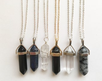 Gemstone Crystal Point Necklace/Choker