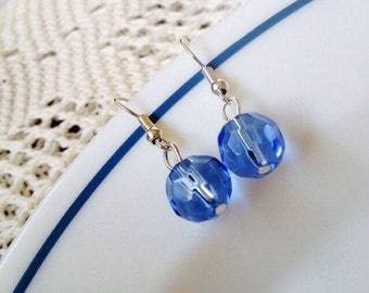Blue glass dangle earrings blue glass earrings handmade jewelry, thistlescraftshop, jewellery uk