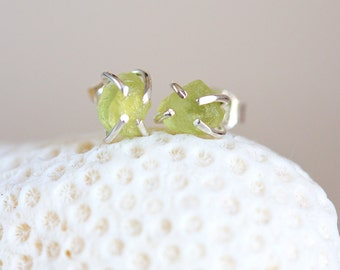 Peridot Earrings, Raw Peridot Earrings, Rough Peridot Silver Earrings