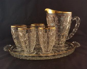 Gold Rimmed Jeannette Glass Pitcher Set - 6 Piece Set