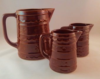 SALE -Marcrest Stoneware Pitchers - set of 3 - Daisy and Dot