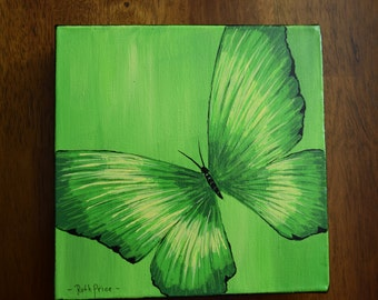 Original Green and Yellow Butterfly Handpainted on 6x6 Canvas