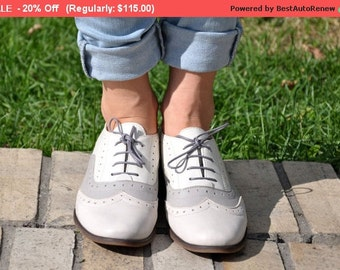 SALE - Lenox - Womens Leather Oxfords, Brogue Shoes, Vintage Shoes, Grey Oxfords, Oxford Shoes, Custom Shoes, FREE customization!!!