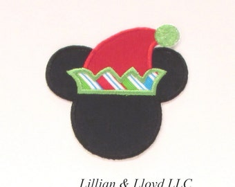 Mouse Ears Christmas Elf Iron-On Applique