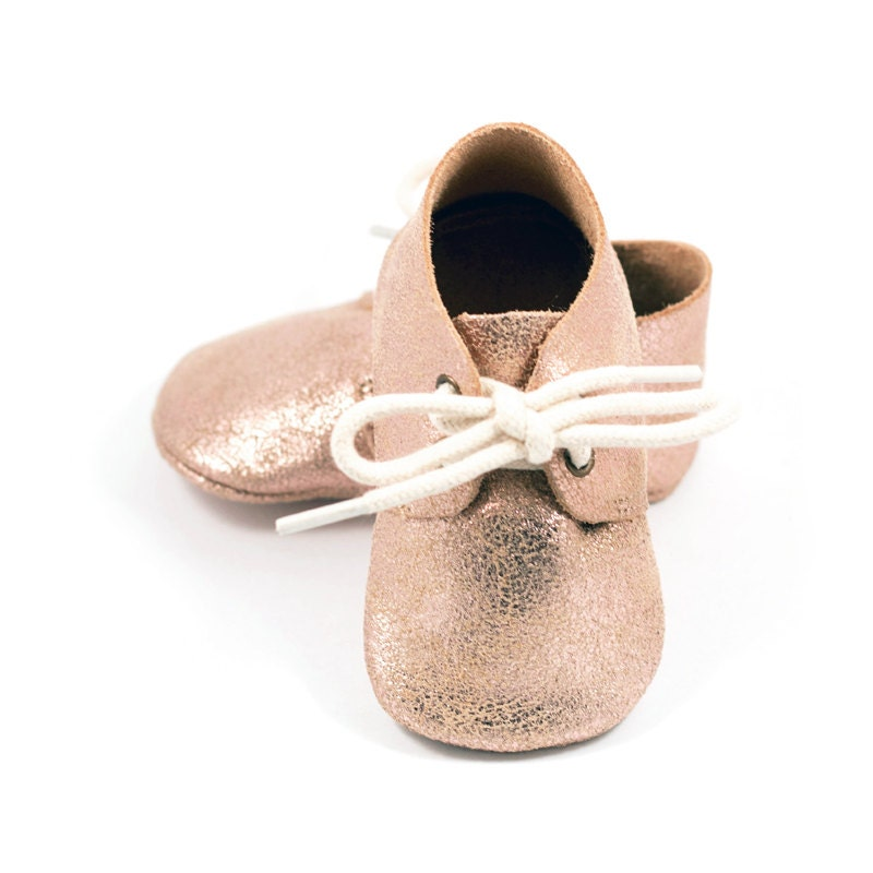 Rose gold baby oxford shoes baby mocs gold moccasins for