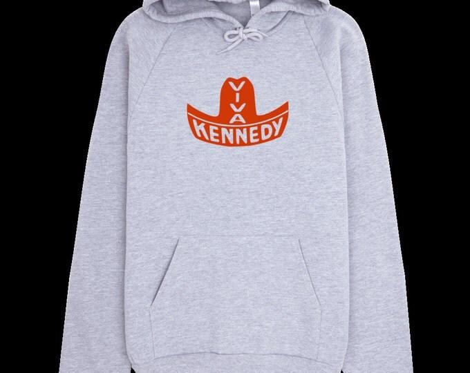 JFK Sweatshirt - Viva Kennedy - John F. Kennedy Political Campaign Button Hoodie