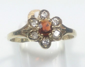 9ct yellow gold garnet & cubic zirconia cluster flower ring size I 1/2 | US Size 4 1/2