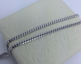 Rhodium Sterling Silver Curb Link Chain