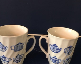 Pair of Blue and White Mugs with Teapot Designs